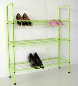 Color 3 Tier Steel Wire Shoe Display Rack Organizer (CJ-C1132E) pictures & photos