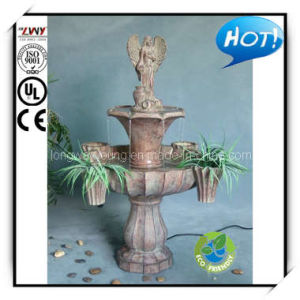 45 Inches Cocoa Fiberglass 2 Tiers Angel Water Fountain (YF2236B-45H-LD36)