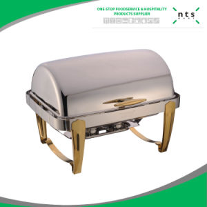 Hotel Full Size Gold Accented Roll Top Chafer pictures & photos