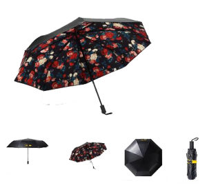 Good Quality Black Metal UV Protection Sun Folding Type Pocket Size Umbrella pictures & photos