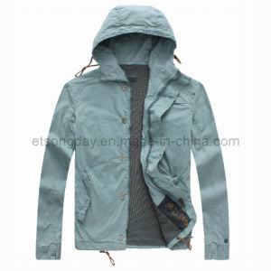 Blue 100% Cotton Men′s Casuall Jacket with Cap (CJA32586) pictures & photos