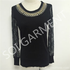New Elegant Ladies Knitted Clothing/Sweater with Lace (SOITSW-06)