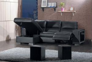 genuine l shape leather sofa with black color