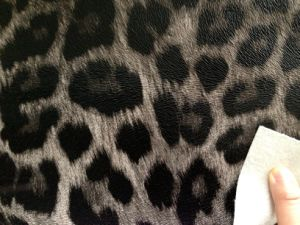 Fashionable Leopard Artificial PVC Leather W/Fur Backing