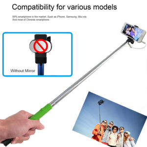Oldable Clip Without Mirror Stainless Steel Wired Selfie Stick for Smartphone pictures & photos