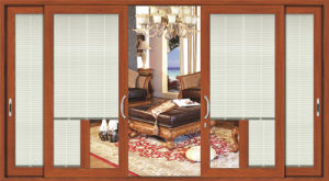 Heavy Duty Aluminium Sliding Door with Electrical Blinds pictures & photos