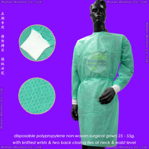 Disposable Nonwoven Gown with Knitted or Elastic Cuffs pictures & photos