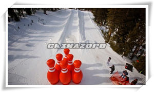 Inflatable Human Bowling Ball with Zorbing Setup on Snow Ramp pictures & photos