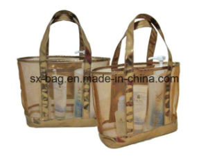 Fashion Lady Beach Bag with PVC Mesh