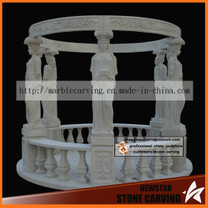 6 Statues Sandstone Carving Natural Gazebo Ns027 pictures & photos