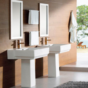 Hotel Washing Basin Floor Standing Pedestal Ceramic Basin
