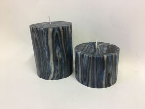Dark Grey and Blue Marble Pillar Candle Frameless pictures & photos