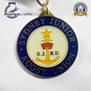 Rugby Sports Medal with Clear Epoxy Coating