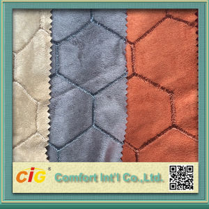 Fashion New Design Embroidery Micro Suede Bonded Faux Fur Fabrics pictures & photos