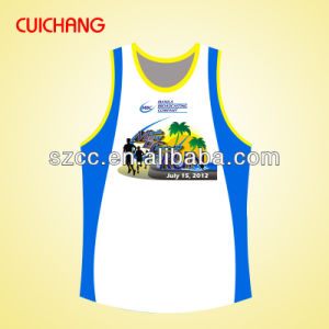 Wholesale Polyester/Spandex Heat Transfer Printing Custom Design Gym Singlets Bx-041 pictures & photos
