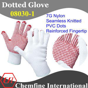 7g White Nylon Knitted Glove with Red PVC Dots & Reinforced Fingertip pictures & photos