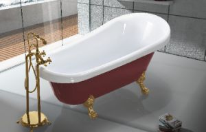 China Red Acrylic Freestanding Clawfoot Bathtub JL622 China Bathtubs Hot