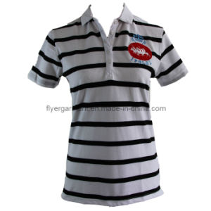 Ladies Stripe Polo Shirt Yarn Dyed Cotton Knitted Top Poloshirt (MDC-055)