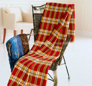 100% Polyester Fleece Printed Blanket Check Print Polar Fleece Blanket