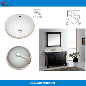Good Quality Round Cupc Under Mount Bathroom Porcelain Sink (SN036) pictures & photos