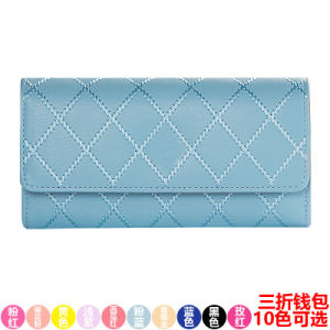 New Ladies Wallet Long Ladies Purse Three Fold Check Purse Korean Embroidery Fashion Wallet pictures & photos