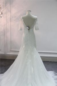 Half Sleeve Lace Beading Mermaid Wedding Dress Bridal Gown pictures & photos