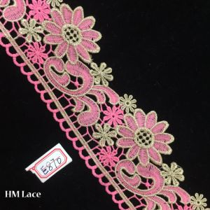 8cm Pink Polyester Knitted Lace Fabric with Flower for Trimming Accessories Hme870 pictures & photos