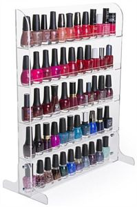 Clear Acrylic Nail Polish 5 Open Shelves Countertop Wall Mount Display Rack pictures & photos