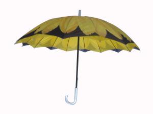 Sunflower Design Heat Transfer Printing Double Layers Straight Umbrella (SU025-3) pictures & photos
