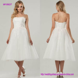 Tea-Length Wedding Dress Features a Ruched Bodice and Lovely Airy Tulle Overlay pictures & photos