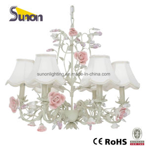 Hot Sales Wrought Iron 5 Lights Ceramic Flower Decorative Ceiling Lamp with UL pictures & photos