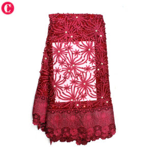 Hot Selling Wine Red Soft 3D Lace Fabric Tulle Beads Bridal pictures & photos