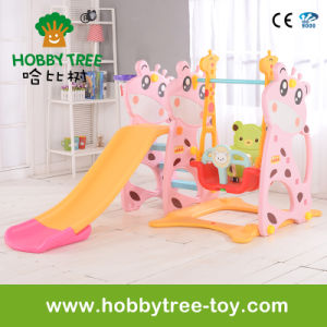 2017 Deer Style Hot Selling Plastic Kids Slide with Swing (HBS17006D) pictures & photos