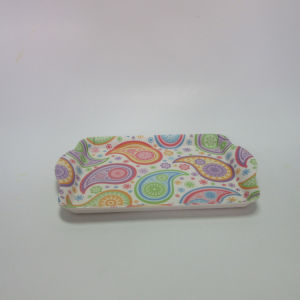 Bamboo Fiber Tray Square Serving Tray Paisley Design Tableware pictures & photos