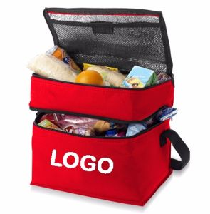 Double Compartment Thermal Polyester Insulated Breastfeeding Container Lunch Cooler Bag pictures & photos