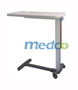 ABS Adjustable Hospital Furniture Over-Bed Dining Table for Patient with Wheels pictures & photos