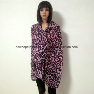 100% Polyester, Voile Material Multifunctional Scarf with Leopard Printing pictures & photos