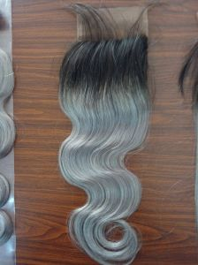 8A Best Virgin Malaysian Hair Closure Body Wave Lace Closure Bleached Knots Closures Free/2/3part Virgin Human Hair Closure Ombre Grey Lace Closure pictures & photos