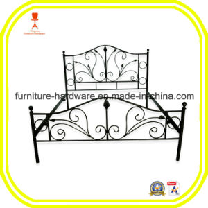French Style Wrought Iron Custom Iron Bed Frame with Solid Railing pictures & photos