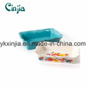 2-Piece Decorated Rectangular Ruffle Top Ceramic Bakeware Set-Xjt56 pictures & photos