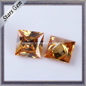 Wholesale Princess Cut 20X20mm Champagne Color Synthetic Cubic Zirconia Stone pictures & photos