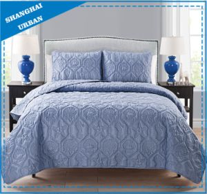 Violet Solid Printed Polyester Quilted Bedspread Set pictures & photos