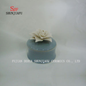 Ceramic Jewelry Box with Blue Rose Flower Lid pictures & photos