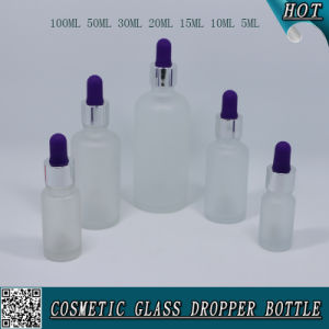 Frosted Cosmetic Glass Dropper Bottle with Colorful Rubber pictures & photos