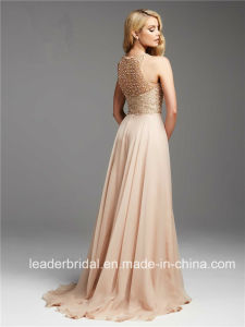 Pearls Beading Celebrity Party Gowns Champagne Chiffon Evening Dresses C2771 pictures & photos