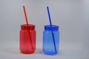 20oz & 24oz Double Wall as Plastic Mason Jar with Straw and DIY Paper Inserted pictures & photos
