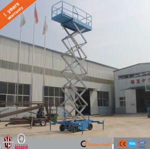 Hydraulic Aerial Working Trailer Mobile Scissor Lift Platform with Four Supporting Wheels pictures & photos