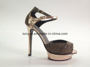 Lady Snake Leahter High Heel with Extemal Platforms Fashions Sandals pictures & photos