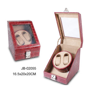 High Quality Leather Brown Watch Box Case Rotating PU Watch Winder pictures & photos