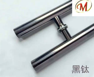 Titanium with Wood Finish Stainless Steel Door Handle pictures & photos